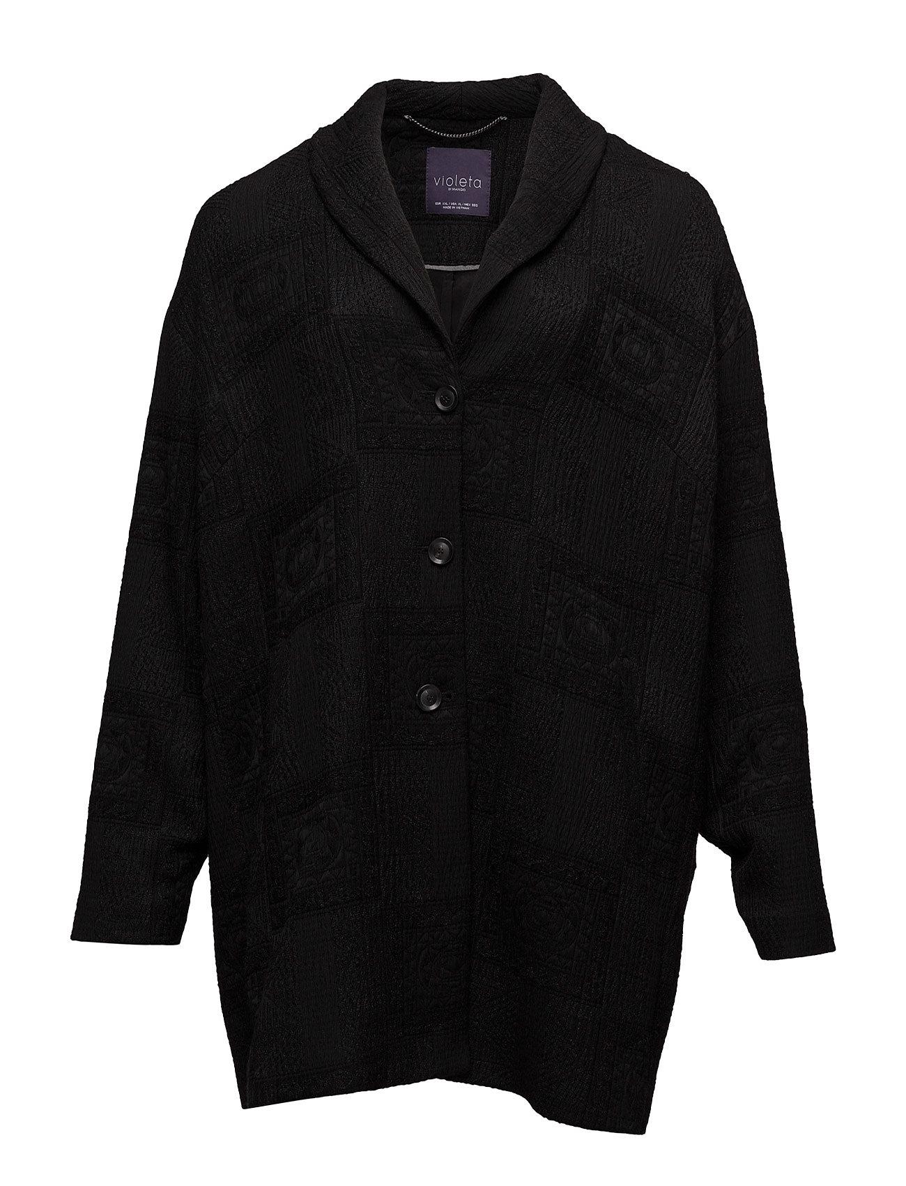 Textured Cotton-Blend Coat Violeta by Mango Frakker til Damer i Sort