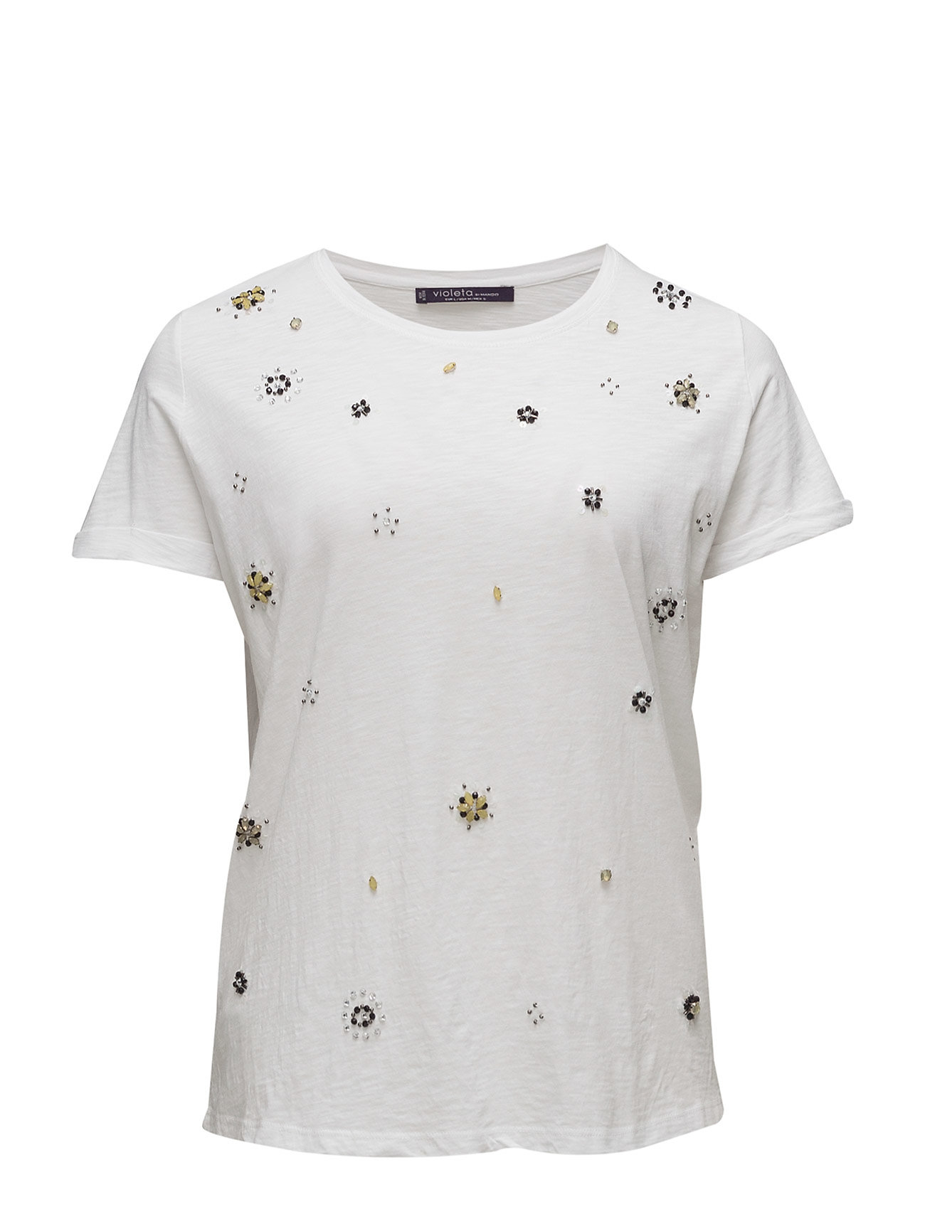 Embroidery Beaded T-Shirt Violeta by Mango Kortærmede til Damer i hvid