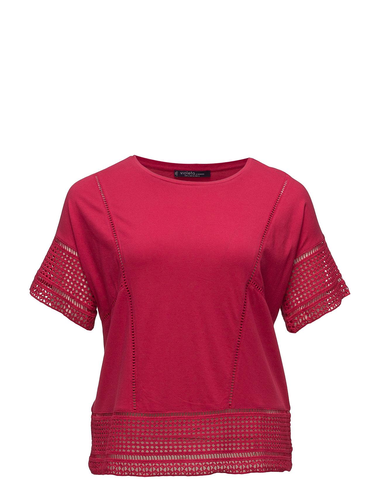 Openwork Panels T-Shirt Violeta by Mango Kortærmede til Damer i Bright Red