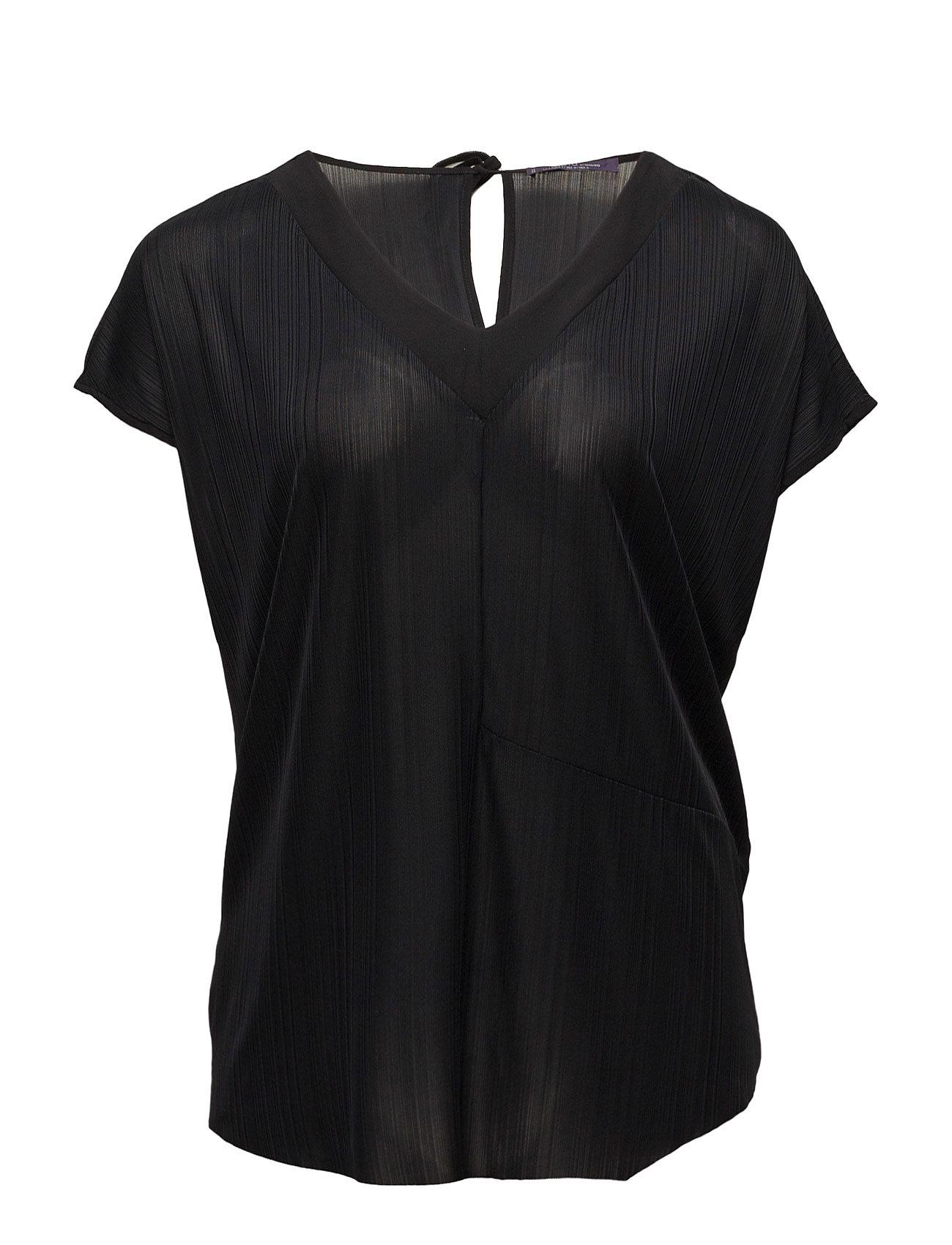 Textured Flowy T-Shirt Violeta by Mango Kortærmede til Damer i Sort