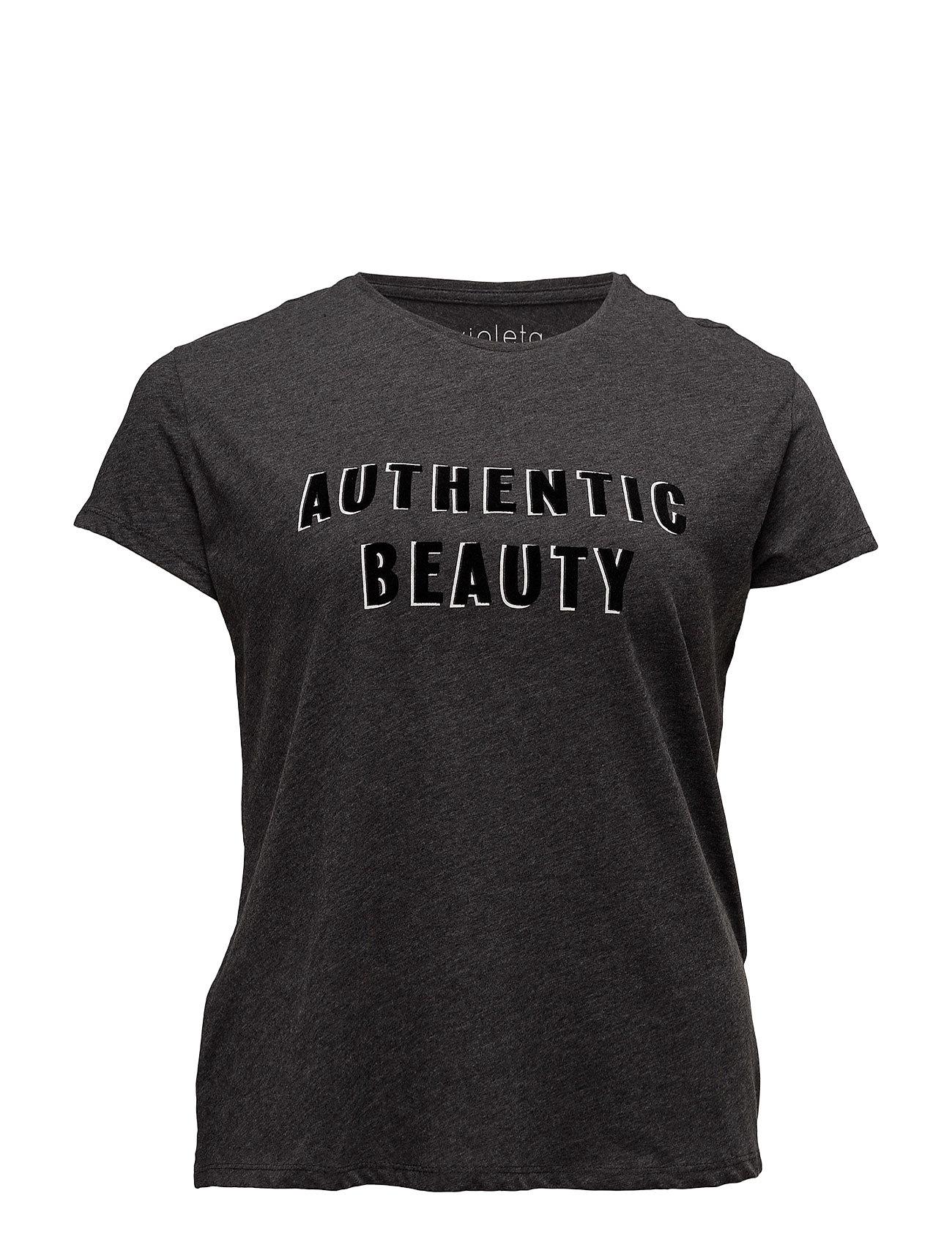 Textured Message T-Shirt Violeta by Mango Kortærmede til Damer i Grå