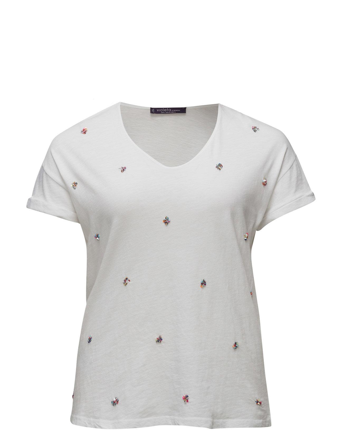 Sequin Flecked T-Shirt Violeta by Mango Kortærmede til Damer i