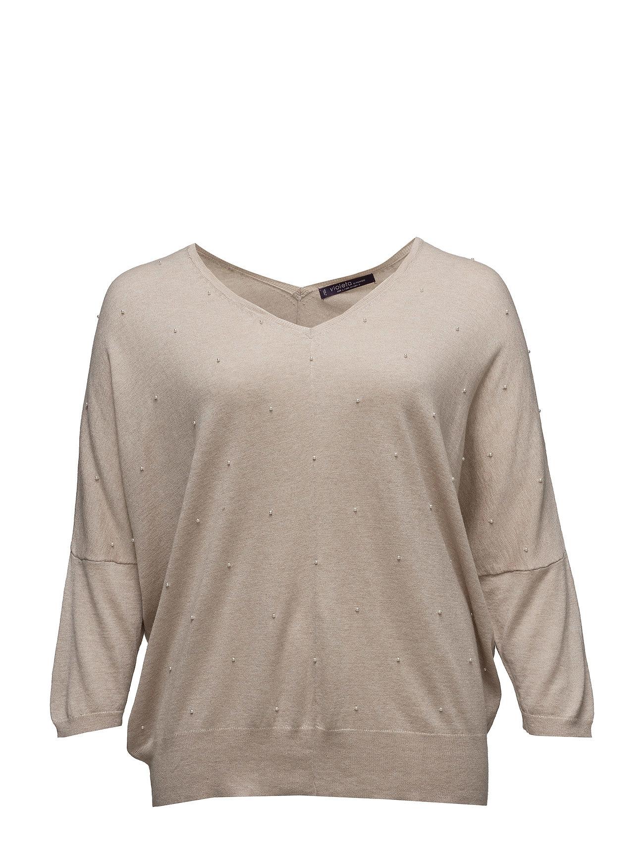 Beaded Wool-Blend Sweater Violeta by Mango Sweatshirts til Damer i Light Beige