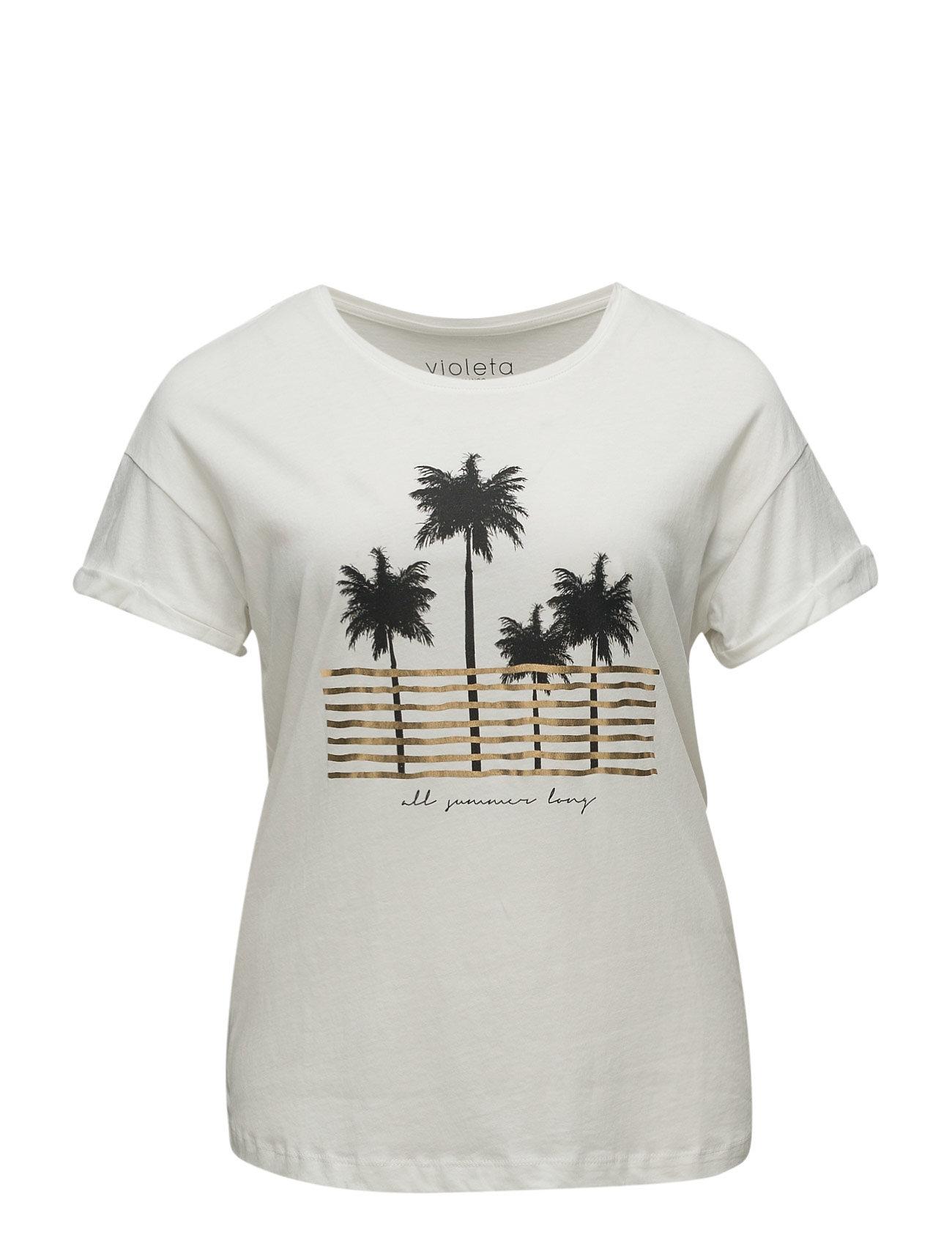 Message Cotton T-Shirt Violeta by Mango Kortærmede til Damer i Natural White