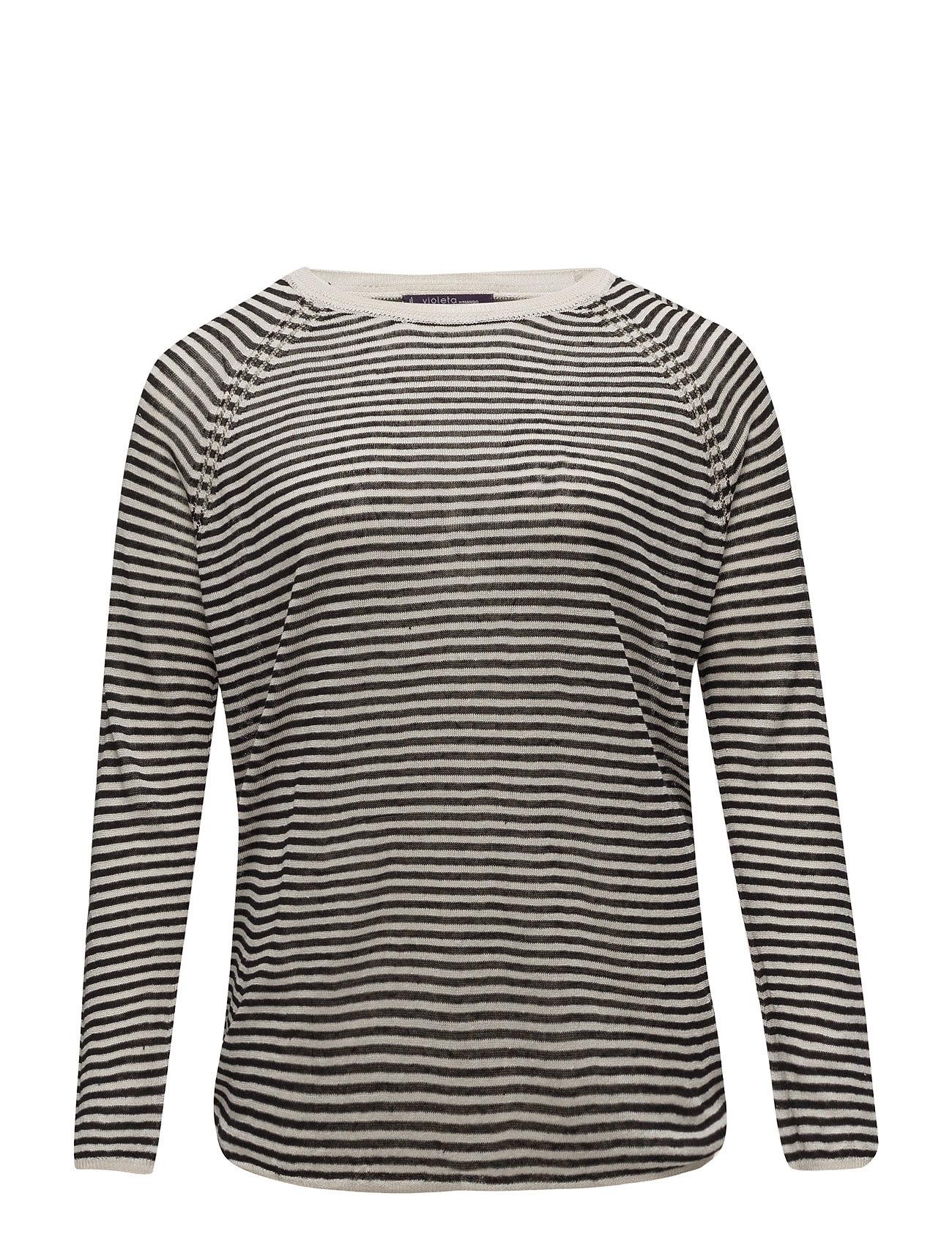 Striped Linen Sweater Violeta by Mango Sweatshirts til Damer i Sort