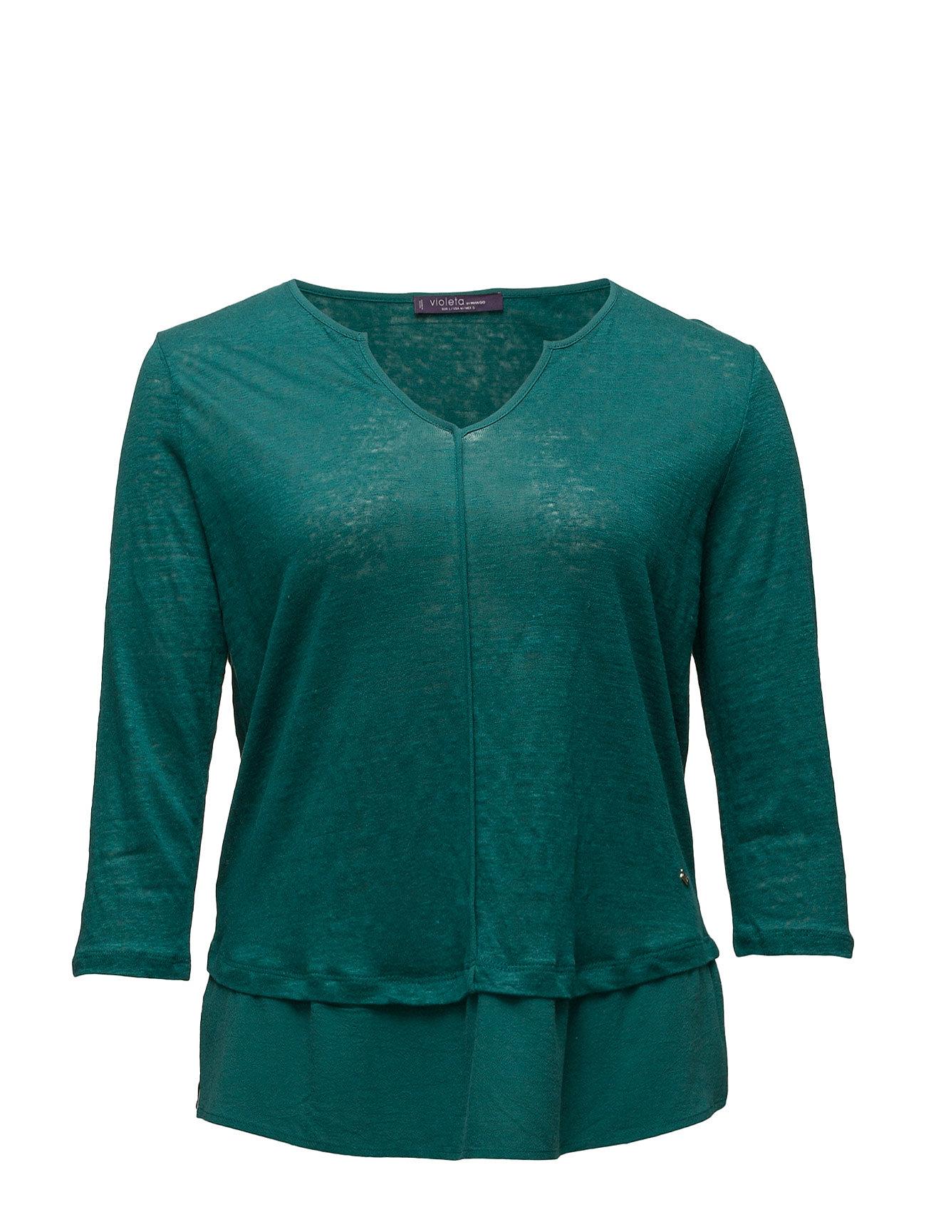 Mixed Linen-Blend T-Shirt Violeta by Mango T-shirts & toppe til Kvinder i Grøn