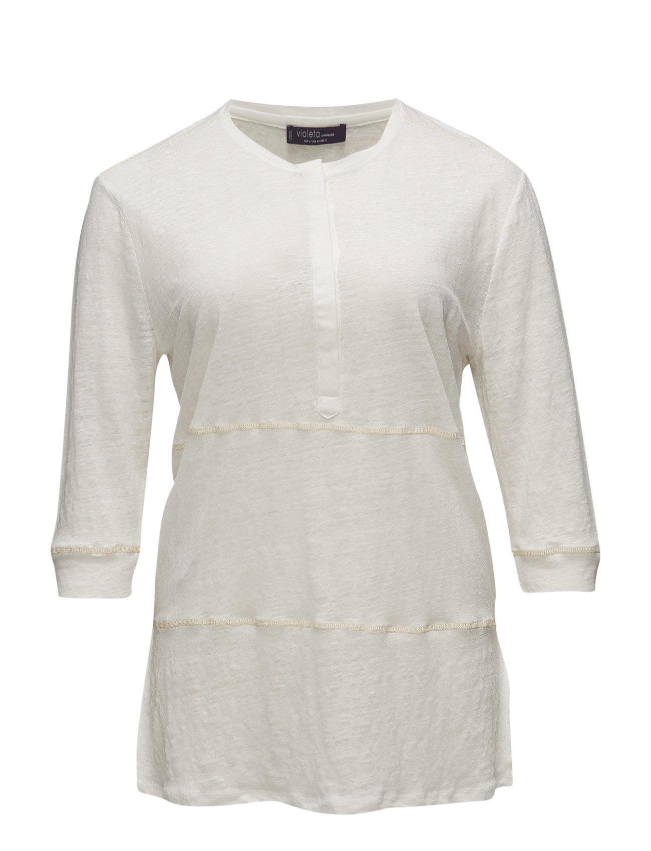 Long Linen T-Shirt Violeta by Mango T-shirts & toppe til Kvinder i