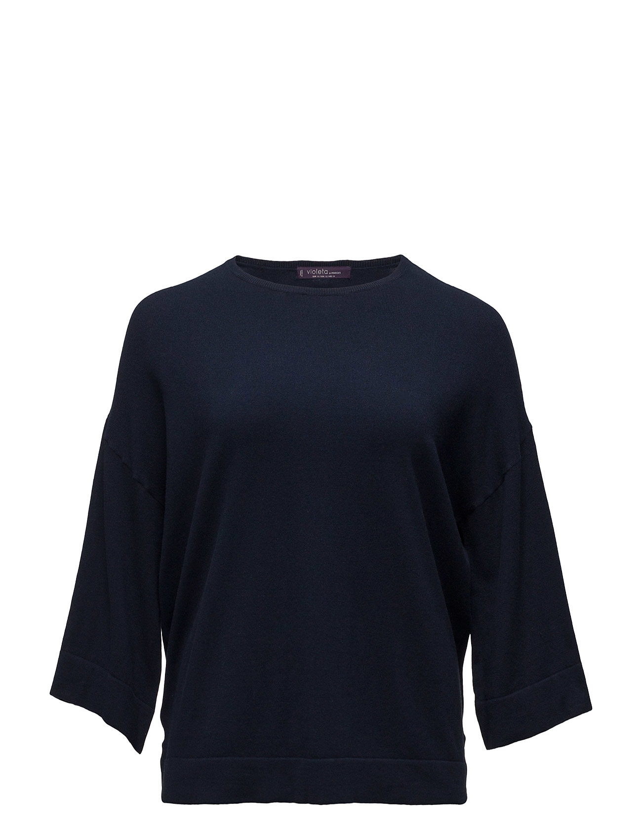 Fine-Knit Cotton Sweater Violeta by Mango Striktøj til Kvinder i Navy blå
