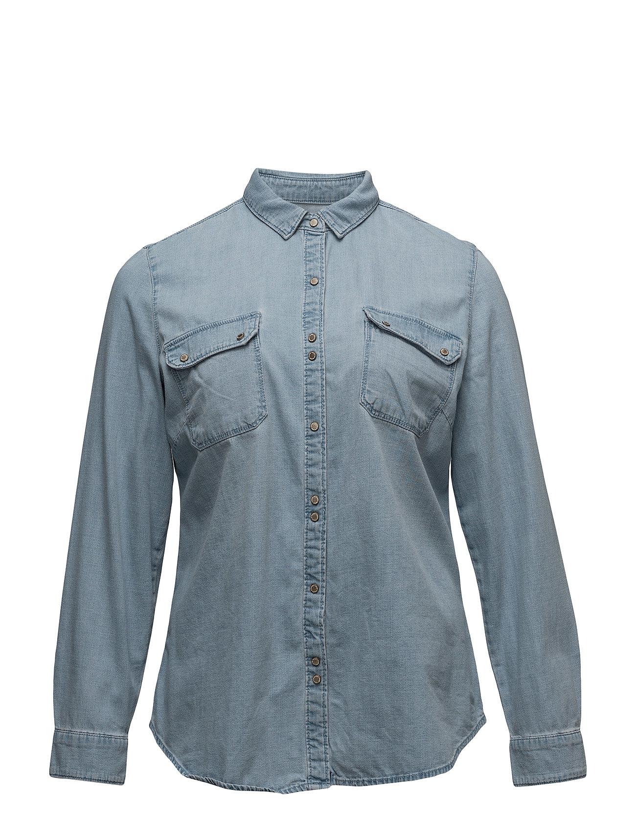 Medium Wash Denim Shirt Violeta by Mango Langærmede til Damer i Open Blå