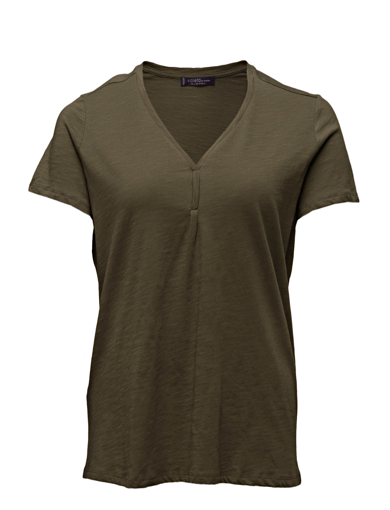 Slub-Cotton T-Shirt Violeta by Mango Kort-Hylsa