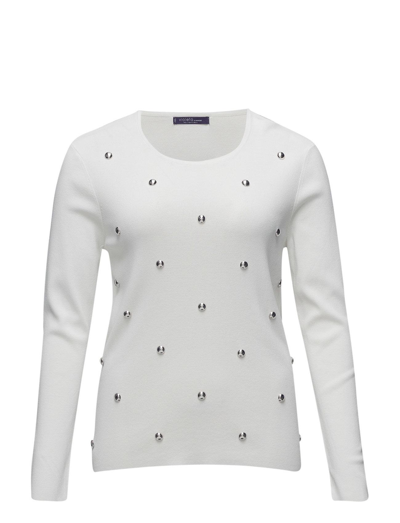 Studded Textured Sweater Violeta by Mango Sweatshirts til Damer i