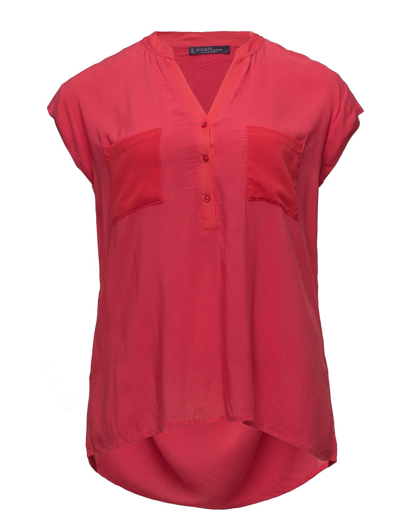 Chest-Pocket Flowy Blouse Violeta by Mango Kortærmede til Damer i Rød