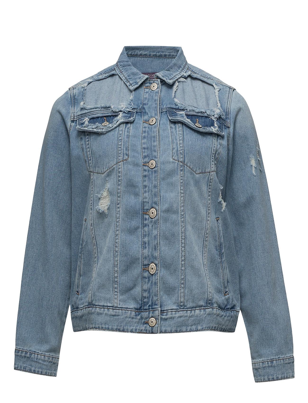 Decorative Rips Denim Jacket Violeta by Mango Jakker til Damer i Open Blå