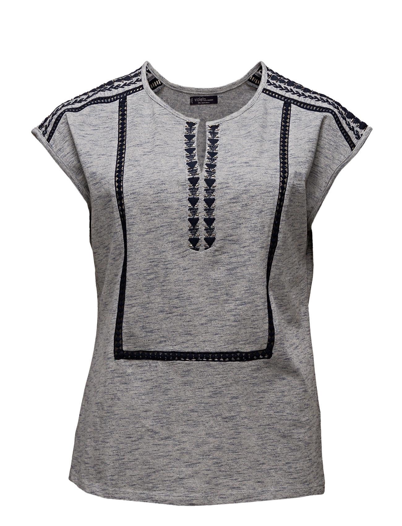Embroidered Cotton Shirt Violeta by Mango Kortærmede til Damer i Mellem grå