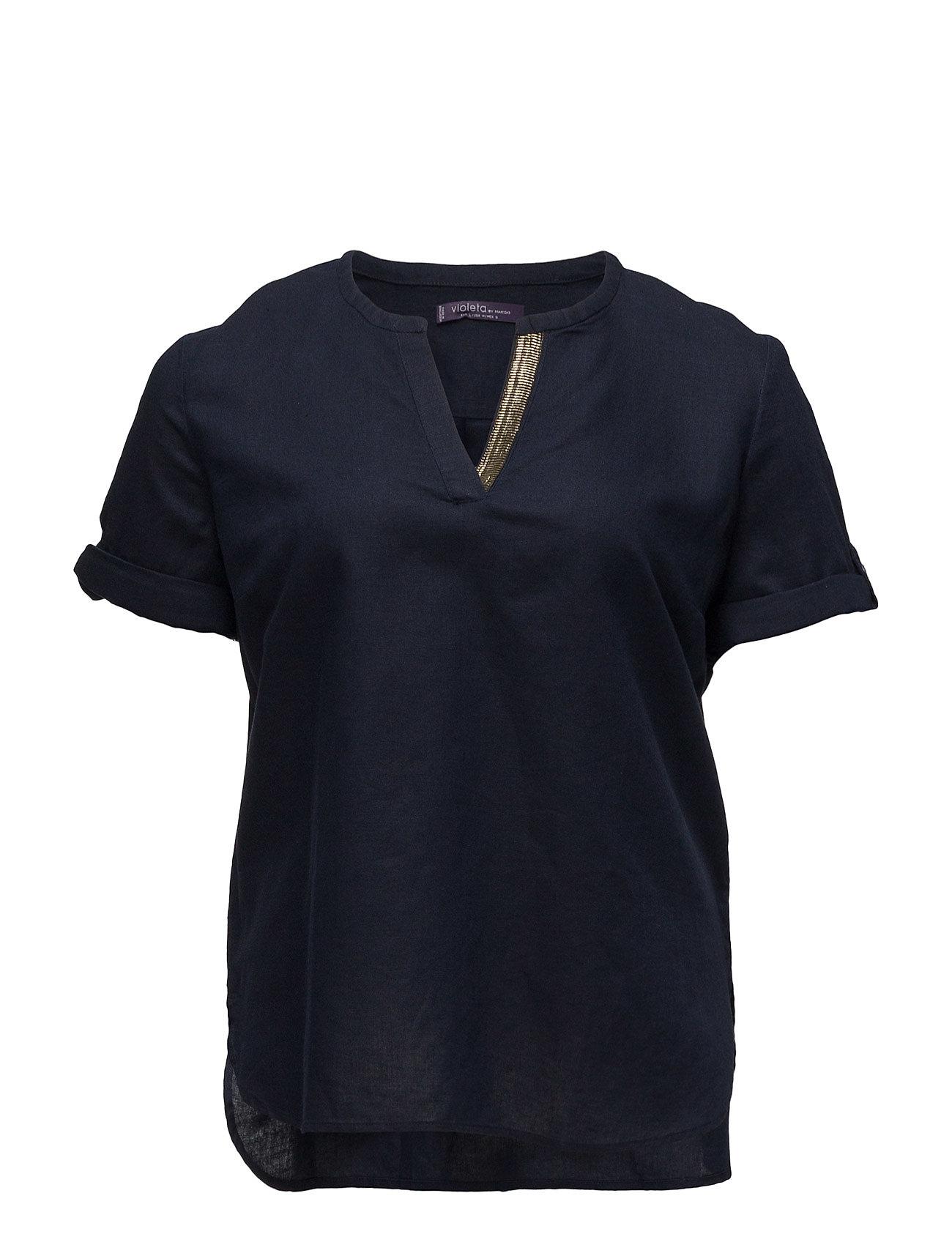 Contrasting Linen Blouse Violeta by Mango Bluser til Kvinder i Navy blå