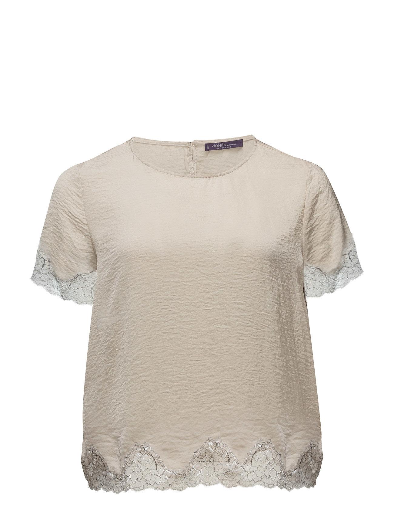 Lace Panel Blouse Violeta by Mango Kortærmede til Damer i Lt Pastel Brown