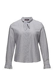 Bow fine-stripe blouse - LT-PASTEL BLUE
