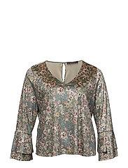 Floral velvet blouse - BEIGE - KHAKI
