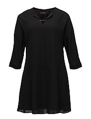 Appliqu flowy dress - BLACK