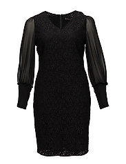 Combined lace dress - BLACK