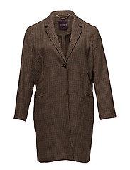 Micro houndstooth coat - MEDIUM BROWN
