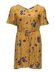 Cord floral dress - MEDIUM YELLOW