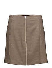 Micro houndstooth skirt - MEDIUM BROWN