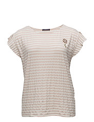 Beaded striped t-shirt - LT-PASTEL PINK