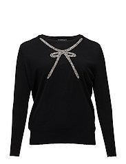 Metal appliqu sweater - BLACK