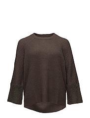 Texture sleeve sweater - MEDIUM BROWN