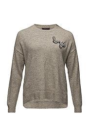 Rhinestone appliqu sweater - LIGHT BEIGE