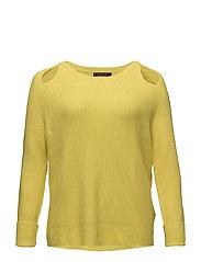 Side slit wool sweater - BRIGHT YELLOW