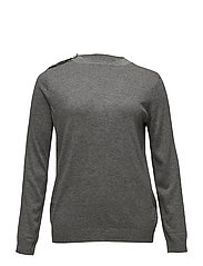 Pearl embroidery appliqu sweater - MEDIUM GREY