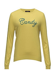 Embossed message sweater - YELLOW