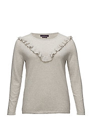 Ruffled cotton sweater - LT PASTEL GREY