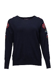 Floral embroidery sweater - NAVY