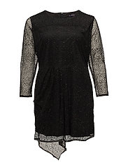 Sparkly appliqus tulle dress - BLACK