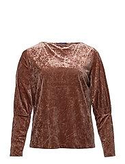 Puffed sleeves velvet t-shirt - BRIGHT RED