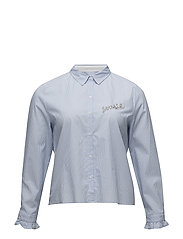 Message cotton shirt - LT-PASTEL BLUE