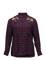 Embroidered checked shirt - DARK RED