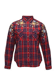 Embroidered checked shirt - RED