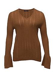 Flared sleeves sweater - DARK BROWN