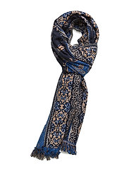 Fringed printed scarf - MEDIUM BLUE