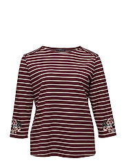 Embroidery striped t-shirt - DARK RED