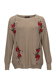 Floral embroidery metallic sweater - LIGHT BEIGE