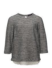 Striped combi sweatshirt - LIGHT BEIGE