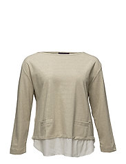 Metallic contrast sweatshirt - LIGHT BEIGE