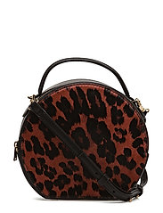 Leopard leather cross body bag - BLACK