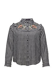 Floral ebroidery gingham blouse - BLACK