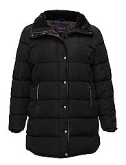 Quilted long coat - BLACK